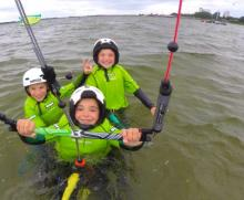 Kiteboarding instructor to work with children at Kitesurf Guide